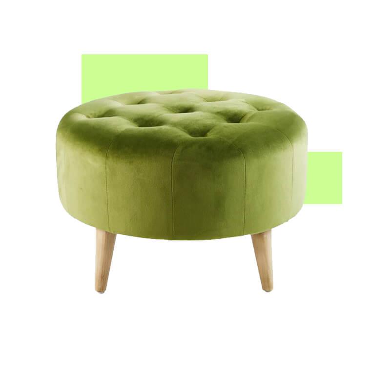 Padded-footstool-Maison-du-Monde -puffs-confortaveis-upholstered-furniture-velvet-green-living-room