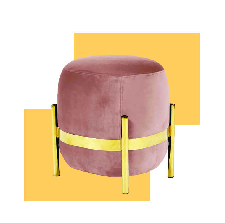 Pouf-velvet-pink-ring-metal-gold-Enostudio-on-Fleux-puffs-confortaveis